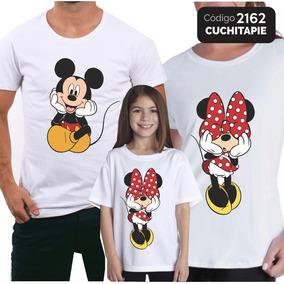 3 Camisetas - 1mãe 1pai 1filha - Mickey E Minnie