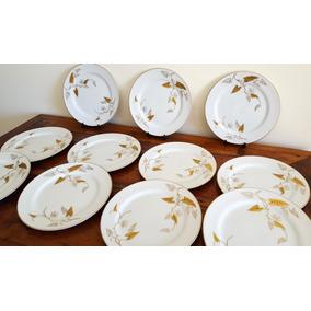 11 Platos Para Postre O Lunch En Porcelana Decorada En Oro