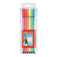 Marcador Stabilo Pen 68 Neon Set 6 Colores Fluo