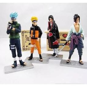 Naruto Kit 4 Bonecos Uzumaki, Kakashi Hatake, Sasuke