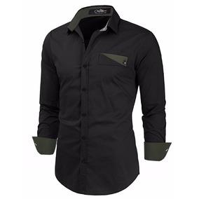 Camisa Slim Fit Lcc15 Negra La Chaqueteria Envio Gratis