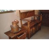 Mueble Antiguo Escaño Con Mesa - De 150 Años Importado
