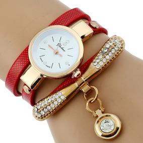 Reloj Pulsera Cristal Moda Dama Dorado Marca Pielvinil Mujer