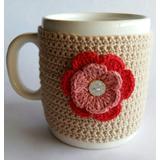 Taza De Ceramica Con Funda Tejida Al Crochet