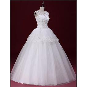 Vestido Noiva Peplum Bordado Brilhoso