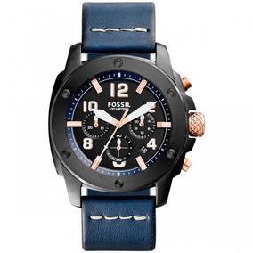 Relógio Fossil Crono Pulseira Couro Fs5066/oan + Frete