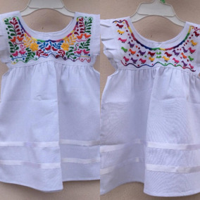 Vestido Mexicano Artesanal Bordado Para Bebé, Niña