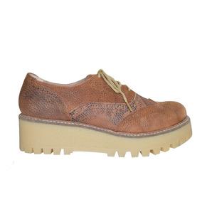 Zapato Acordonado Cuero Picado Base Goma Plataforma