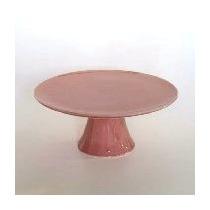 Prato Suporte Para Bolo Doces Multiuso Porcelana Rosa 1083