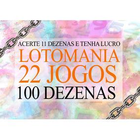 Planilha Lotomania 100 Dezenas 22 Jogos