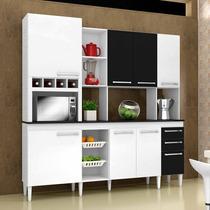 Armário De Cozinha Kit Lírio 8 Port. 2 Gav. Branco E Preto