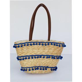 Canasto / Cartera Color Azul De Pu, Cuero Ecologico K909-35
