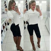 Blusa Tricô Lã Inverno Gola Boba Roupa Feminina Blogueiras