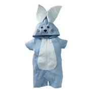 Pañalero  Algodon Bordado Conejo Azul
