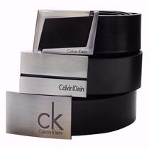 Cinto Couro Masculino Calvin Klein Ck Social Fivela De Aço