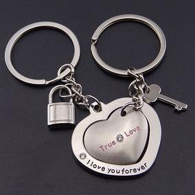 Chaveiros Românticos - Casal Namorados Coração Chave Cadeado