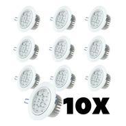 Kit 10 Spot Super Led Redondo 12w Embutir Branco Quente Frio