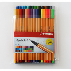 Rotulador Stabilo 30 Pzs C/ 5 Colores Neon Point 88