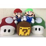 Peluches Mario Bros + Luigi + 2 Honguito + Cubo Envio Gratis