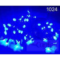 Kit 100 Pisca 100 Lâmpadas Led Fixo Azul C/ Fio Verde