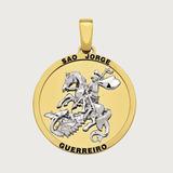 Pingente São Jorge Guerreiro Em Ouro 18k (750).