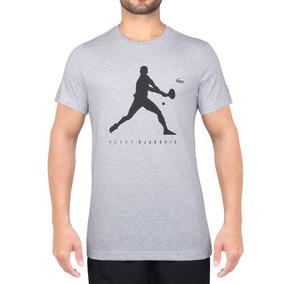 e66ba2edcf797 Camiseta Lacoste Graphic Trainning Th3882 Mescla Cinza Claro