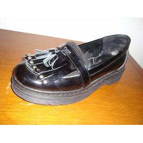 Mocasín Charol Negro Con Plataforma