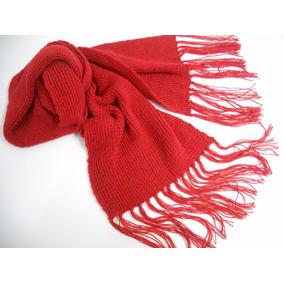 Cachecol De Lã Tricô Vermelho Adulto Unissex Modelo Grande