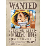 One Piece Luffy Wanted Fabric Poster Anime