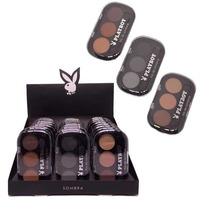 Caixa 24 Estojo Sombra Trio Maquiagem Playboy Pincel Atacado