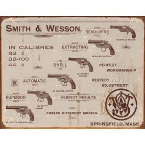 Placa Metálica Decorativa Smith & Wesson Revolvers