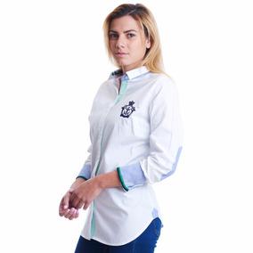 Camisa La C Blanca Parches En Codos Corona Marino