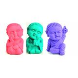 Trio De Budas Bebês / Monges Coloridos Em Gesso
