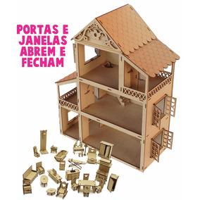 Casa Casinha Boneca Polly+27 Mini Móveis Mdf Cru Promoção