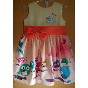 Vestido Trolls Roupa Infantil Lindo Para Festa Tam 01 Ao 06.
