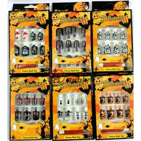 Kits De Uñas 12 Cajitas 6 Diseños Halloween Calaveras