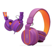 Headset Fluor Hs107 Roxo/laranja Oex Teen Com Microfone