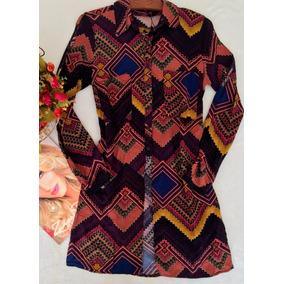 Camisa Estampada Alongada Tam M