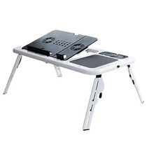Mesa Notebook Laptop E-table Dobrável Com 2 Coolers - Branco