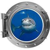 Adesivo Decoração Parede Escotilha Tubarão Kids007 70x65cm