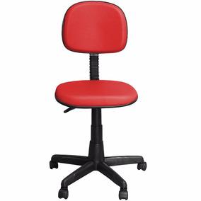 Cadeira Couro Vermelho Computador Escritório Garantia 1 Ano