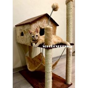 Arranhador Bege Com Casa Rede Gatos Brinquedo Leia Descricao