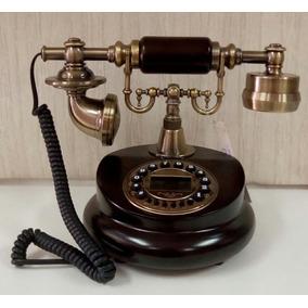 Telefone Antigo Retro Vintage De Madeira Funciona Novo
