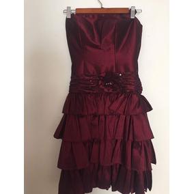 Hermoso Vestido Corto De Noche Color Vino Tinto