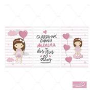 Placa Infantil Quarto Bebe Menina Balões Coração Salmo