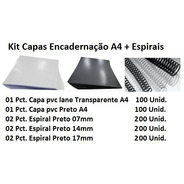 Kit Capas Encadernação A4 + Espirais