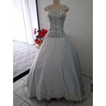 Vestido De Noiva Prata Saia E Corpete Tafetá Bordado A Mão