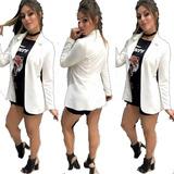 Blazer Feminino Max Comprido Longo Neoprene Sobretudo Moda