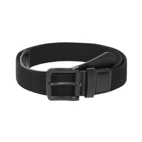 Cinturón Textil Poliéster Negro Con Hebilla Clásica Rectangu