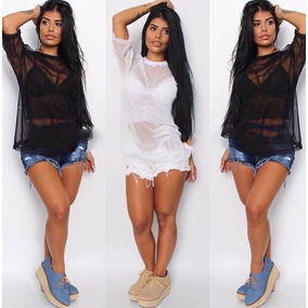 Blusa Camisa Tule Transparente + Top Cropped Strappy C/ Bojo